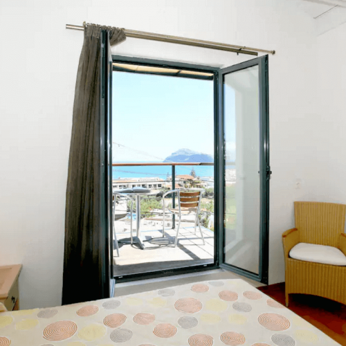 Large Apartment Bedroom with view on Platanias and Agioi Theodoroi Island