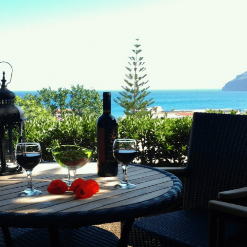 Pelagos Holidays Apartments Terrace with view on Platanias and Agioi Theodoroi Island